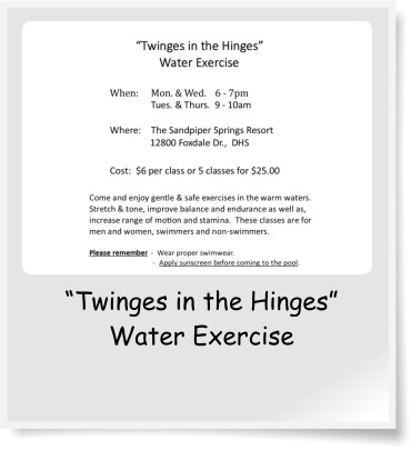 """Twinges in the Hinges"" Water Exercise"